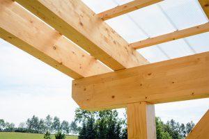 Auch bei der Überdachung von Terrassen wird gerne auf den Baustoff Holz zurückgegriffen.